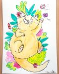 "Daniela Schreiter Aquarell ""Katze groß"" ca. 20,7 x 29,4 cm"