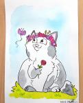 "Daniela Schreiter Aquarell ""Katze im Gras"", ca. 17 x 24 cm"