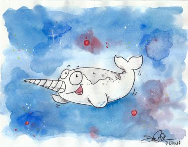 "Daniela Schreiter Aquarell ""Narwhale in Space"" 23x18 cm"