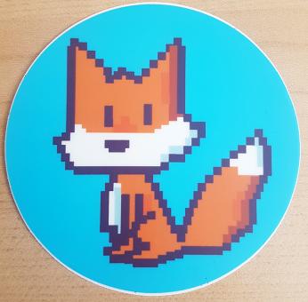 """runder Sticker """"Pixelfuchs"""" von Fuchskind"""