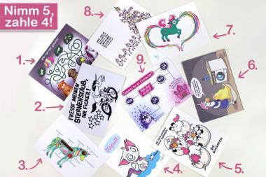 Einhornkotze - Postkartenset aus 5 verschiedenen Karten
