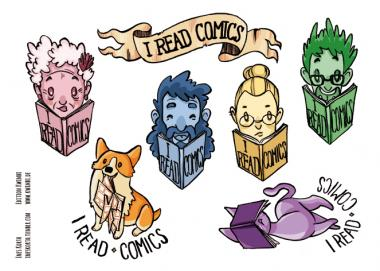 "Stickerbogen ""I read Comics"" von Ines Korth"