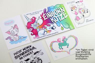 Einhornkotze Cartoons inkl. 4 Postkarten - Olga Hopfauf & Stephan Baumgarten