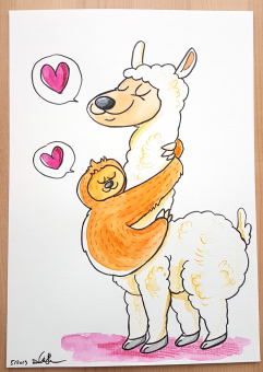 "Daniela Schreiter Aquarell ""Lama plus Faultier"" ca. 20,7 x 29,4 cm"