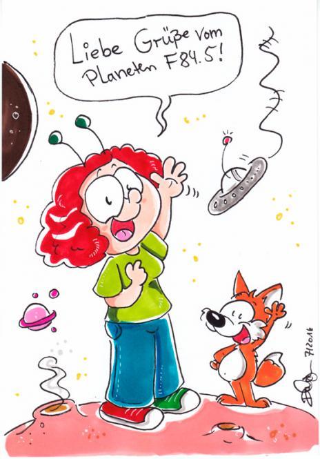"""Daniela Schreiter Zeichnung """"Planeten-Grüße"""" 14,5 x 21 cm"""