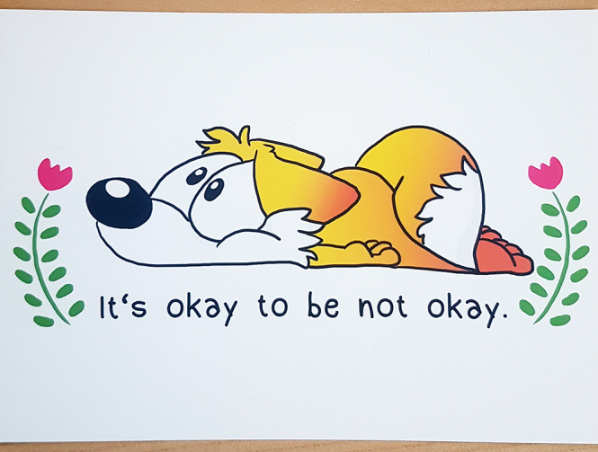 "Postkarte ""Okay to Be Not Okay"" von Fuchskind"