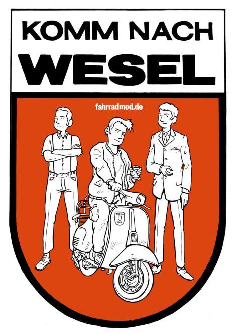 """Fahrradmod """"Komm nach Wesel""""-Sticker"""
