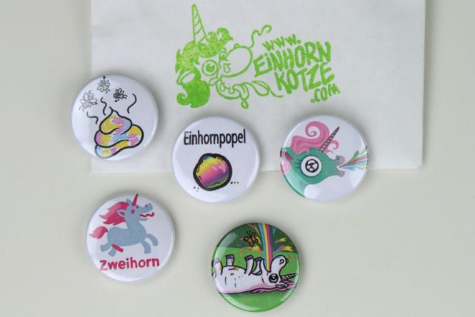 Einhornkotze - Frech!-Set aus 5 Buttons