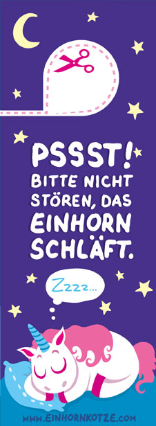 """Einhornkotze - Türhänger """"Einhorn schläft!"""""""