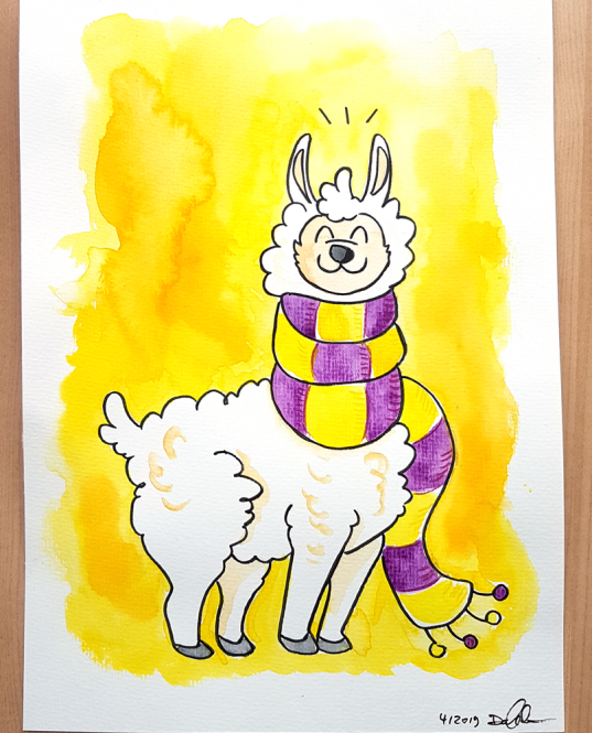 "Daniela Schreiter Aquarell ""Lama"" ca. 20,7 x 29,4 cm"