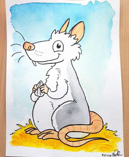 """Daniela Schreiter Aquarell """"Ratte"""" ca 16,5 x 22,5 cm"""